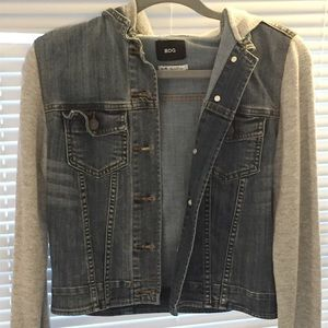Jean Jacket with Sweatshirt Sleeves
